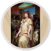 Esther Before Ahasuerus Round Beach Towel