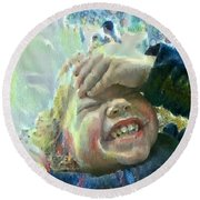 Esther, What Is So Funny? Round Beach Towel