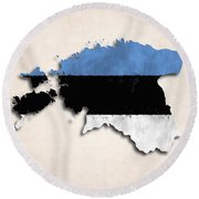 Estonia Map Art With Flag Design Round Beach Towel