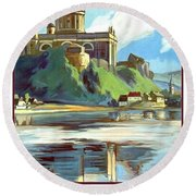 Esztergom, Beautiful City On Danube River, Hungary,  Round Beach Towel