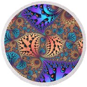 Etched Leaves Round Beach Towel