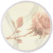 Etched Red Rose Round Beach Towel