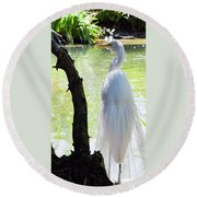 Ethereal Snowy Egret Round Beach Towel