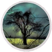 Ethereal Trees Round Beach Towel