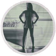 Ethereal Woman Round Beach Towel