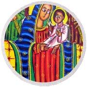 Ethiopian Mary And Jesus Round Beach Towel