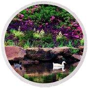 Ethreal Beauty At The Azalea Pond Round Beach Towel
