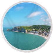 Etretat From Above, France Round Beach Towel