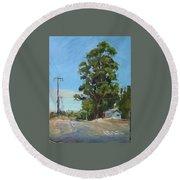 Eucalyptus Tree Near Schellville, Ca Round Beach Towel