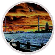 Eugene Talmadge Memorial Bridge And The Serious Politics Of Necessary Change No. 1 Round Beach Towel