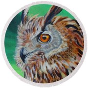 Eurasian Eagle-owl Round Beach Towel