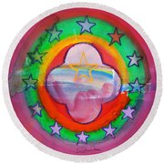 Euro Fishing Boat Round Beach Towel
