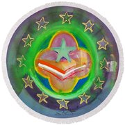 Euro Star And Stripes Round Beach Towel