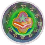 Euro Star And Stripes Round Beach Towel