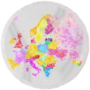 Europe Map Round Beach Towel by Setsiri Silapasuwanchai