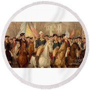 Evacuation Day And Washington's Triumphal Entry In New York City Round Beach Towel
