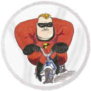 Even Super Heroes Have Bad Days Round Beach Towel