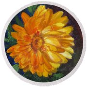 Even The Flowers In Autumn Are Golden Round Beach Towel