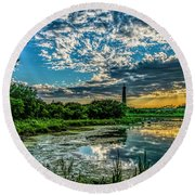 Evening Approaching Cape May Light Round Beach Towel