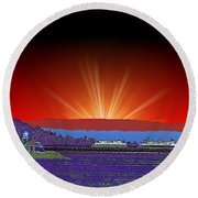 Evening At Alki Round Beach Towel
