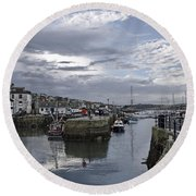 Evening At Custom House Quay - Falmouth Round Beach Towel