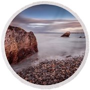 Evening At Knab Rock In Mumbles Round Beach Towel