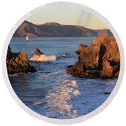 Evening At Land's End Round Beach Towel