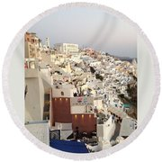 Evening At Santorini Round Beach Towel