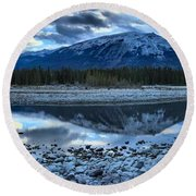 Evening At The Athabasca River Round Beach Towel
