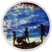 Evening At The Beach Round Beach Towel