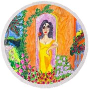 Evening At The Girl Cave Round Beach Towel