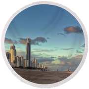 Evening At The Gold Coast Round Beach Towel