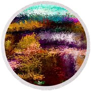 Evening At The Pond Round Beach Towel