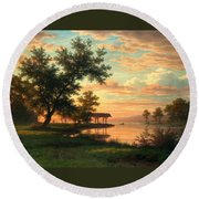 Evening Atmosphere By The Lakeside Round Beach Towel