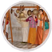 Evening Bells At The Temple Round Beach Towel