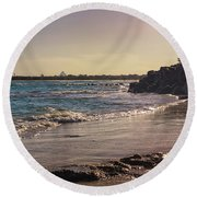 Evening By The Beach Round Beach Towel