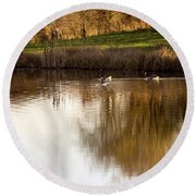 Evening By The Pond Round Beach Towel