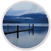 Tranquil Blue Priest Lake Round Beach Towel
