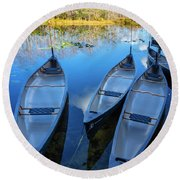 Evening Canoes At The Dock Round Beach Towel