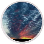 Evening Sky In Kansas Round Beach Towel