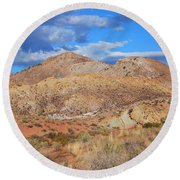 Evening Colors Of The Desert Round Beach Towel