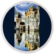 Evening Falls At The Castle Round Beach Towel