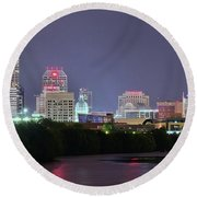 Evening Falls On Indianapolis Round Beach Towel