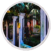 Evening Fence And Gate - Nola Round Beach Towel