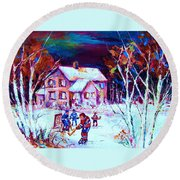 Evening  Game At The Chalet Round Beach Towel