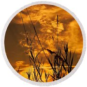 Evening Grass Round Beach Towel