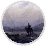 Evening Horseback Ride Round Beach Towel