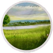 Evening In Calm Round Beach Towel