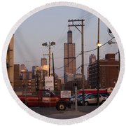 Evening In Chicago Round Beach Towel