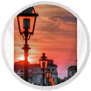Evening In Florence Round Beach Towel